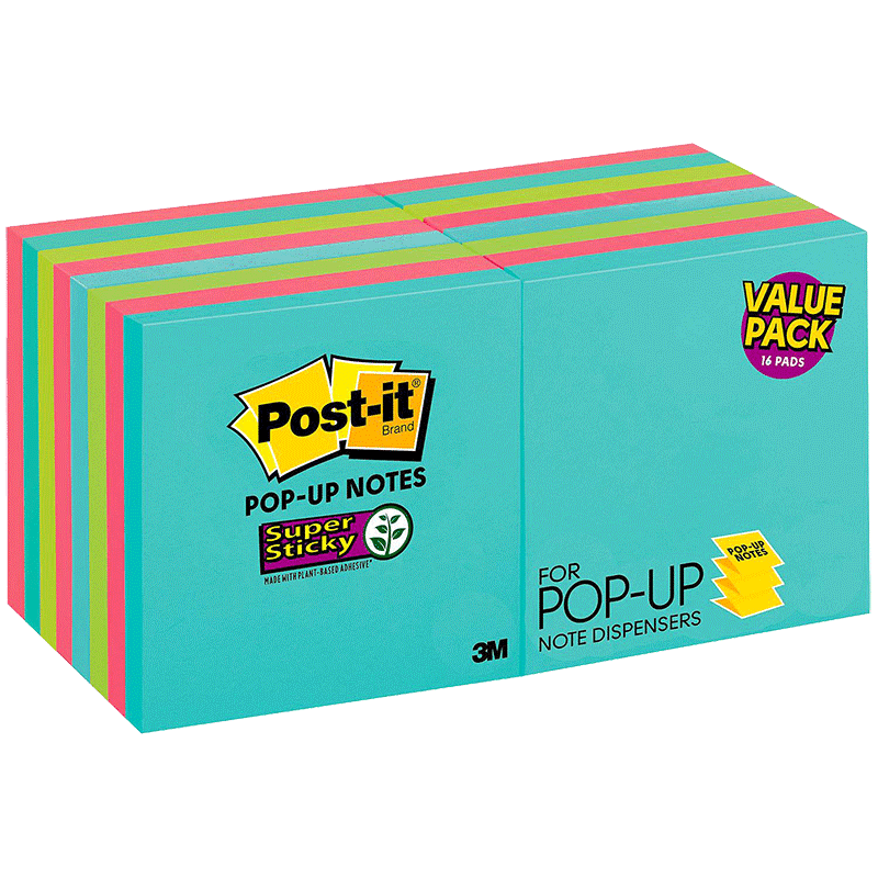 Post-it Pop-up Sticky Notes Value Pack -Miami Collection (16 Pads Per Pack)