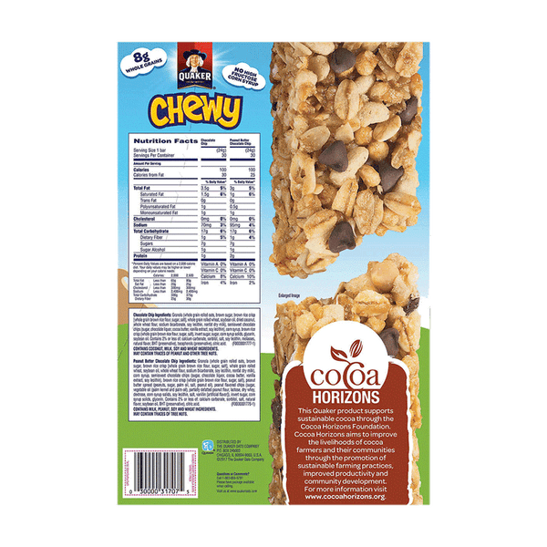 Quaker Chewy Granola Bars Variety Pack - Chocolate Chips & Peanut Butter (60 ct. - 0.84 OZ)