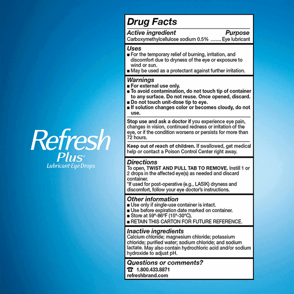 Refresh Plus Lubricant Eye Drops Single Use Containers (100 ct.)