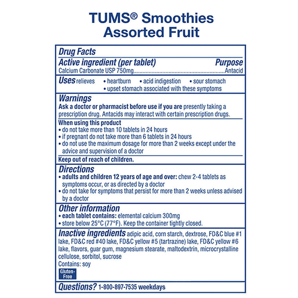 TUMS Smoothies Chewable Tablets - Assorted Fruit (250 ct.)