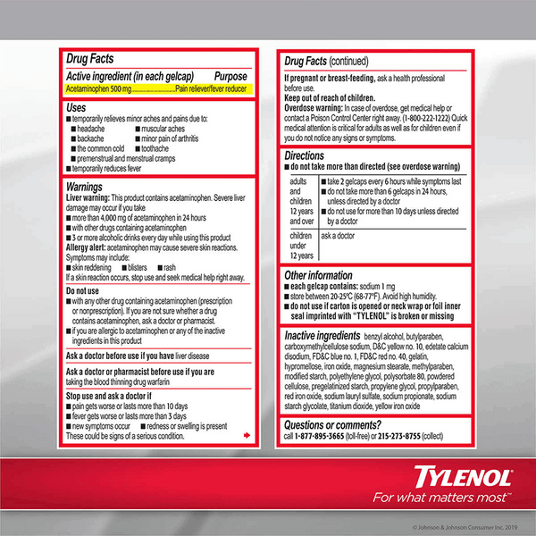 Tylenol Extra Strength Rapid Release Gelcaps (290 ct - 500 mg)