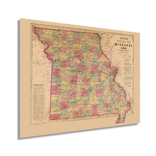 Load image into Gallery viewer, 1861 State of Missouri Map - 18x24 Inch Vintage Map of Missouri Wall Art - Map of Missouri Poster - Civil War Map - Missouri Wall Decor - Missouri Vintage Map