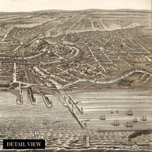 Load image into Gallery viewer, 1877 Cleveland Map - Vintage Map of Cleveland Ohio Wall Art - Old Cleveland Ohio Map - Historic Cleveland Poster - Birds Eye View Map of Cleveland Ohio