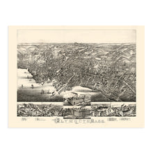 Load image into Gallery viewer, 1882 Plymouth Massachusetts Map Poster - Vintage Plymouth Massachusetts Wall Art - Old Plymouth Massachusetts Map Poster Showing Index to Points of Interest