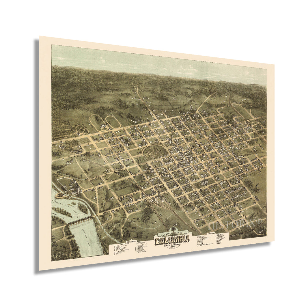 1872 Columbia South Carolina Map Poster - Vintage Map of Columbia SC Wall Art - Old Columbia SC Map - Historic Bird's Eye View Map of Columbia SC Poster