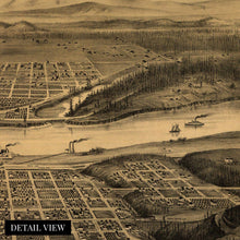 Load image into Gallery viewer, 1879 Map of Portland Oregon - Vintage Map of Portland Wall Art - Portland Oregon Map Looking East to the Cascade Mountains Portland Map Poster - Portland Map Art