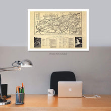 Load image into Gallery viewer, Enhanced Vintage Great Smoky Mountains National Park Map - 1940 Great Smoky Mountains Trail Map - Appalachian Trail North Carolina Tennessee Poster - Inch Ready to Frame Wall Art
