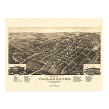 Load image into Gallery viewer, 1885 Tallahassee Florida Map Poster - Vintage Map of Tallahassee Poster - Old Tallahassee Map - Historic Tallahassee Wall Art - View of Tallahassee FL Leon County