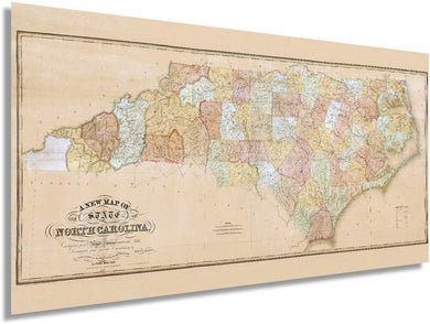 1833 A new map of the state of North Carolina