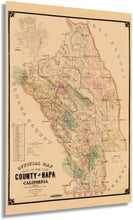 Load image into Gallery viewer, 1895 Napa Map - Vintage Map of Napa California - Old Napa County CA Map - Historic Napa Wall Art - Napa Poster Map from Official Records and Latest Surveys
