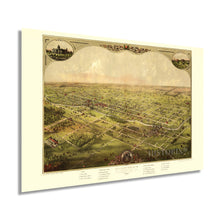 Load image into Gallery viewer, 1886 Lansing Michigan Map Poster - Lansing Michigan Vintage Map - Bird's Eye View of The City of Lansing Michigan Wall Art - Old Lansing Michigan Map