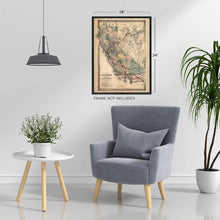 Load image into Gallery viewer, Historix Vintage 1876 Map of California - Restored Vintage Map of California Poster - Southern Pacific Railroad Railway - Old Map of California and Nevada - California Wall Map