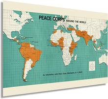 Load image into Gallery viewer, 1966 Map Of The Peace Corps Around The World