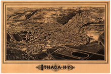 Load image into Gallery viewer, 1882 Ithaca New York Map Print - Ithaca NY Vintage Map Wall Art - Birds Eye View Panoramic Ithaca Wall Art Wall Decor - Historic Ithaca Vintage Map