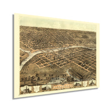 Load image into Gallery viewer, 1868 Des Moines Iowa Map Poster - Vintage Des Moines Wall Art - Old Map of Des Moines IA - Bird's Eye View of The City of Des Moines Capital of Iowa States