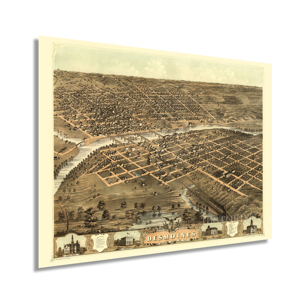 1868 Des Moines Iowa Map Poster - Vintage Des Moines Wall Art - Old Map of Des Moines IA - Bird's Eye View of The City of Des Moines Capital of Iowa States