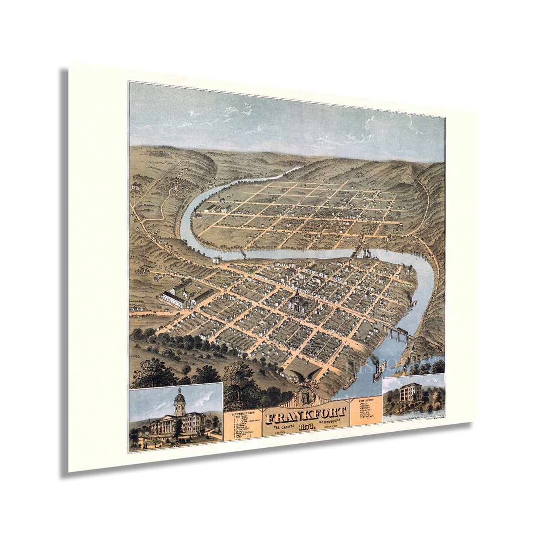 1871 Frankfort Kentucky Map Poster - Vintage Frankfort Kentucky Wall Art - Old Frankfort Kentucky Map - Bird's Eye View of Frankfort KY Looking South East