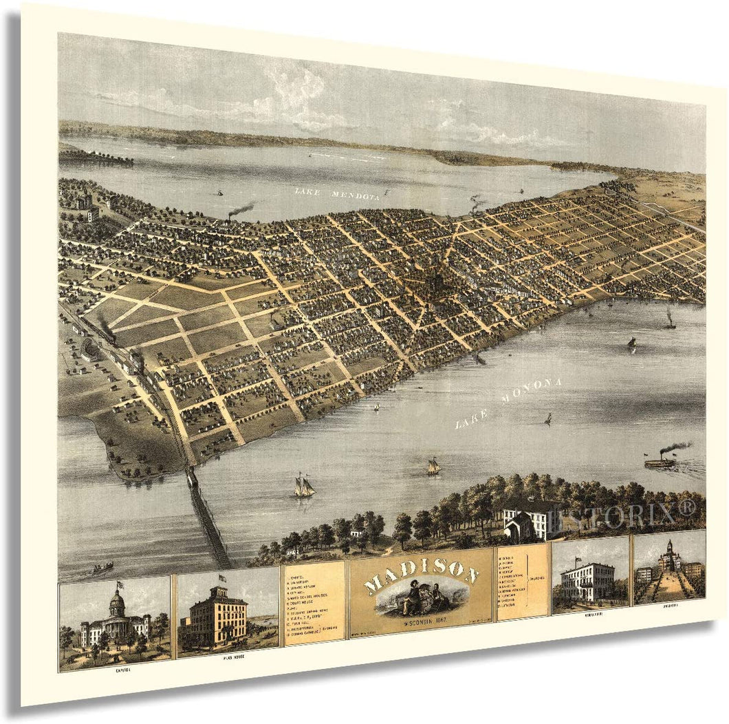 1867 Madison Wisconsin Map - Vintage Map of Madison Wisconsin Wall Art - Old Madison Wisconsin Map - Historic Madison Poster - Bird's Eye View of Madison WI Map