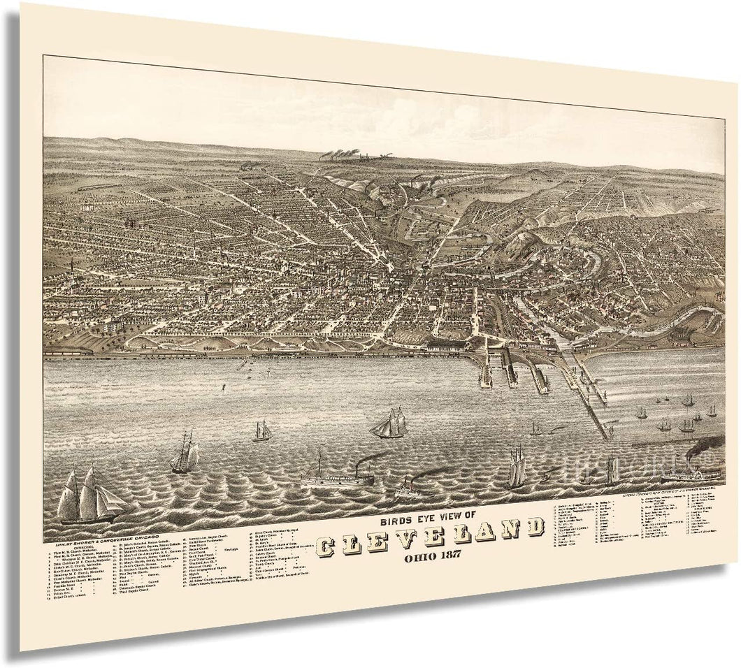 HISTORIX 1877 Birds Eye View of Cleveland, Ohio