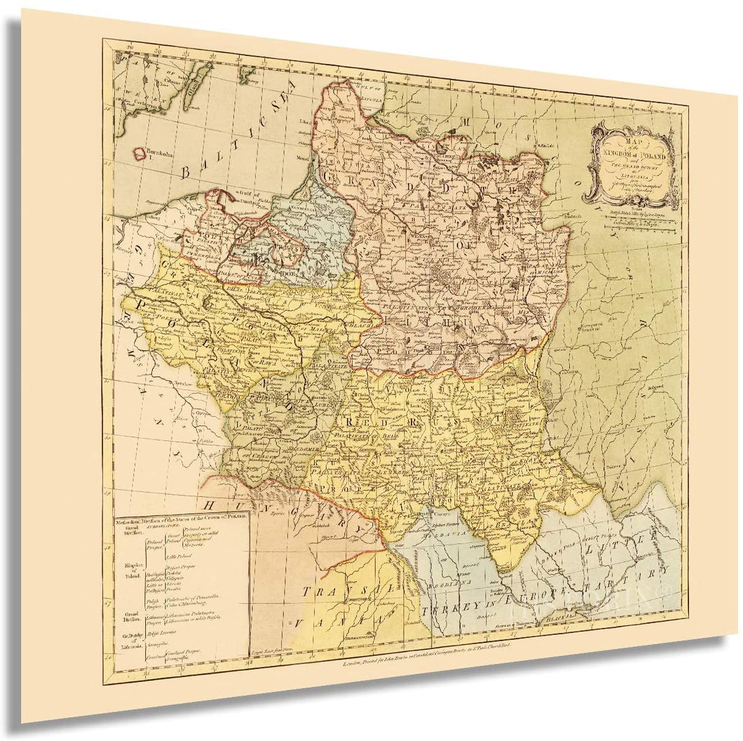 HISTORIX 1770 Map of The Kingdom of Poland