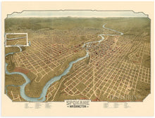 Load image into Gallery viewer, 1905 Spokane Washington Map - Vintage Spokane Wall Art - Old Spokane Washington Map - Historic Spokane Map Poster - Bird's Eye View of Spokane WA Map