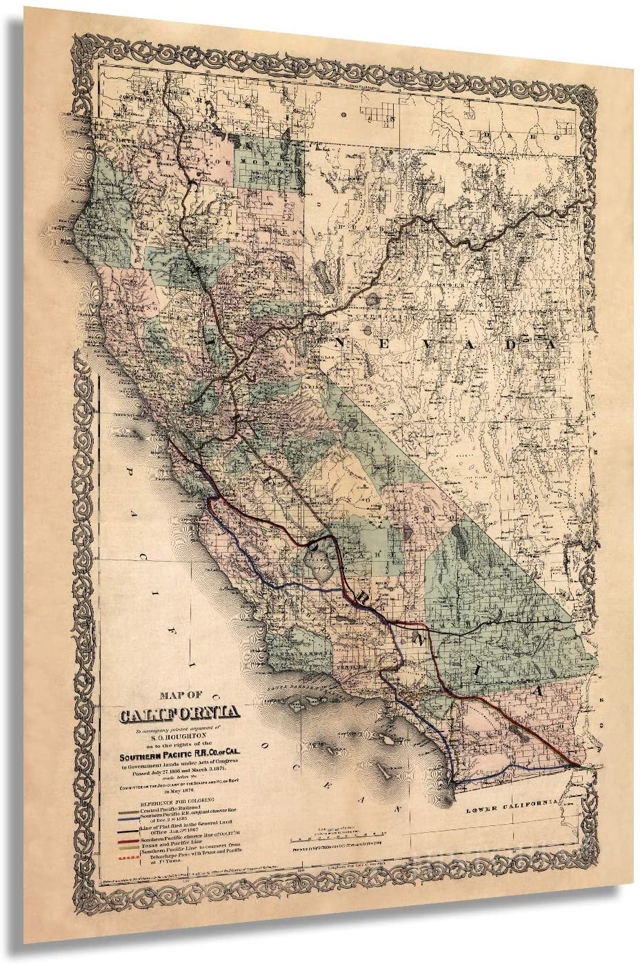 Historix Vintage 1876 Map of California - Restored Vintage Map of California Poster - Southern Pacific Railroad Railway - Old Map of California and Nevada - California Wall Map