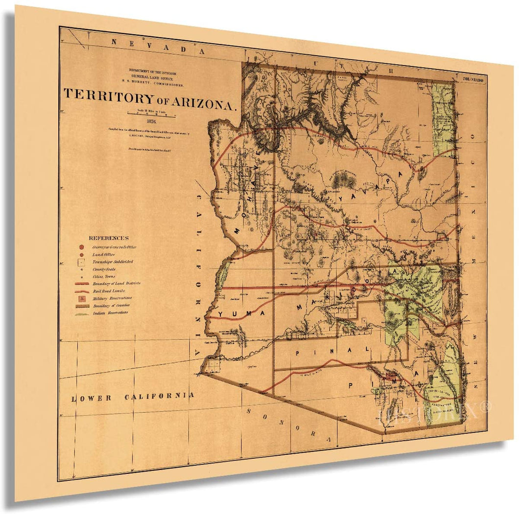1876 Arizona Territory Map - Vintage Arizona Map - Old Arizona Territory Map - Historic Map of Arizona Wall Art from The Official Records of General Land Office