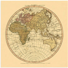 Load image into Gallery viewer, 1786 Eastern Hemisphere Old World Map Poster - Vintage Eastern Hemisphere World Map Wall Art - Old Eastern Hemisphere Map of the World