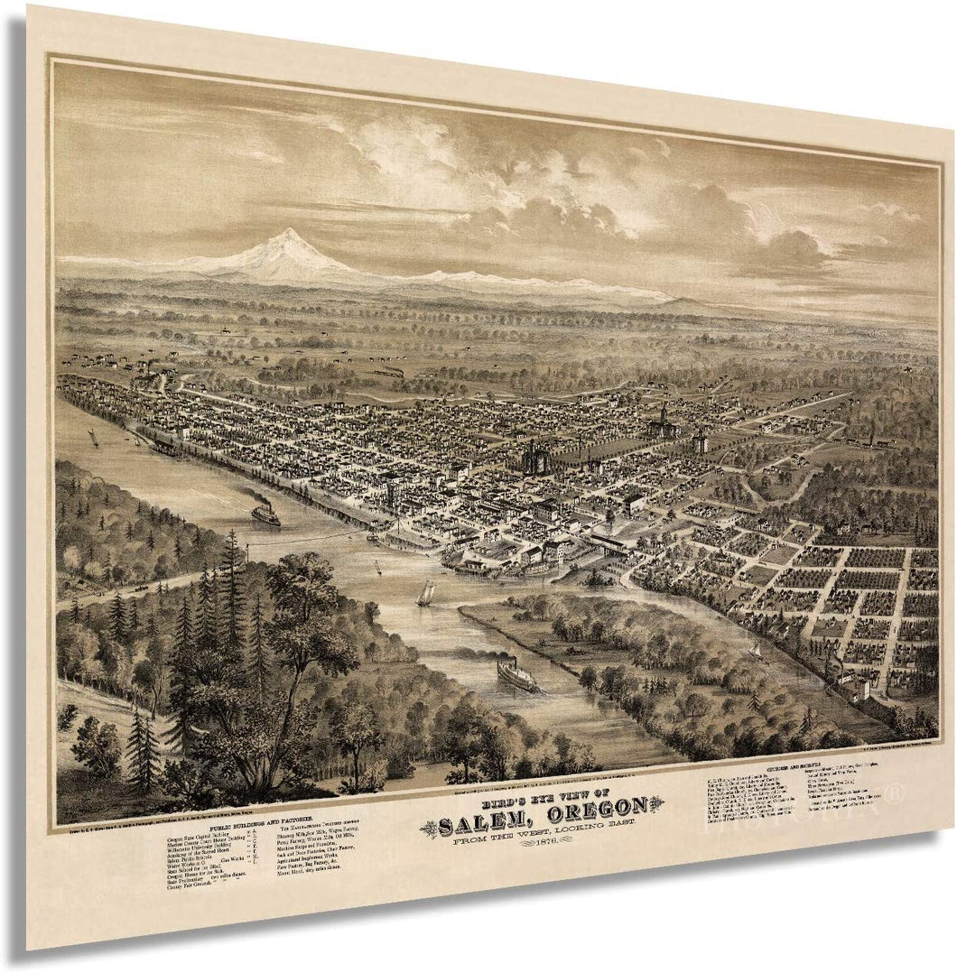 1876 Bird's eye view of Salem, Oregon