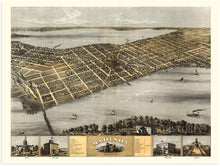 Load image into Gallery viewer, 1867 Madison Wisconsin Map - Vintage Map of Madison Wisconsin Wall Art - Old Madison Wisconsin Map - Historic Madison Poster - Bird's Eye View of Madison WI Map