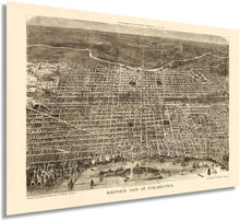 Load image into Gallery viewer, 1872 Map of Philadelphia Pennsylvania - Vintage Map of Philadelphia Wall Art - Old Wall Map of Philadelphia City Poster - Bird's Eye View Philadelphia Map Poster