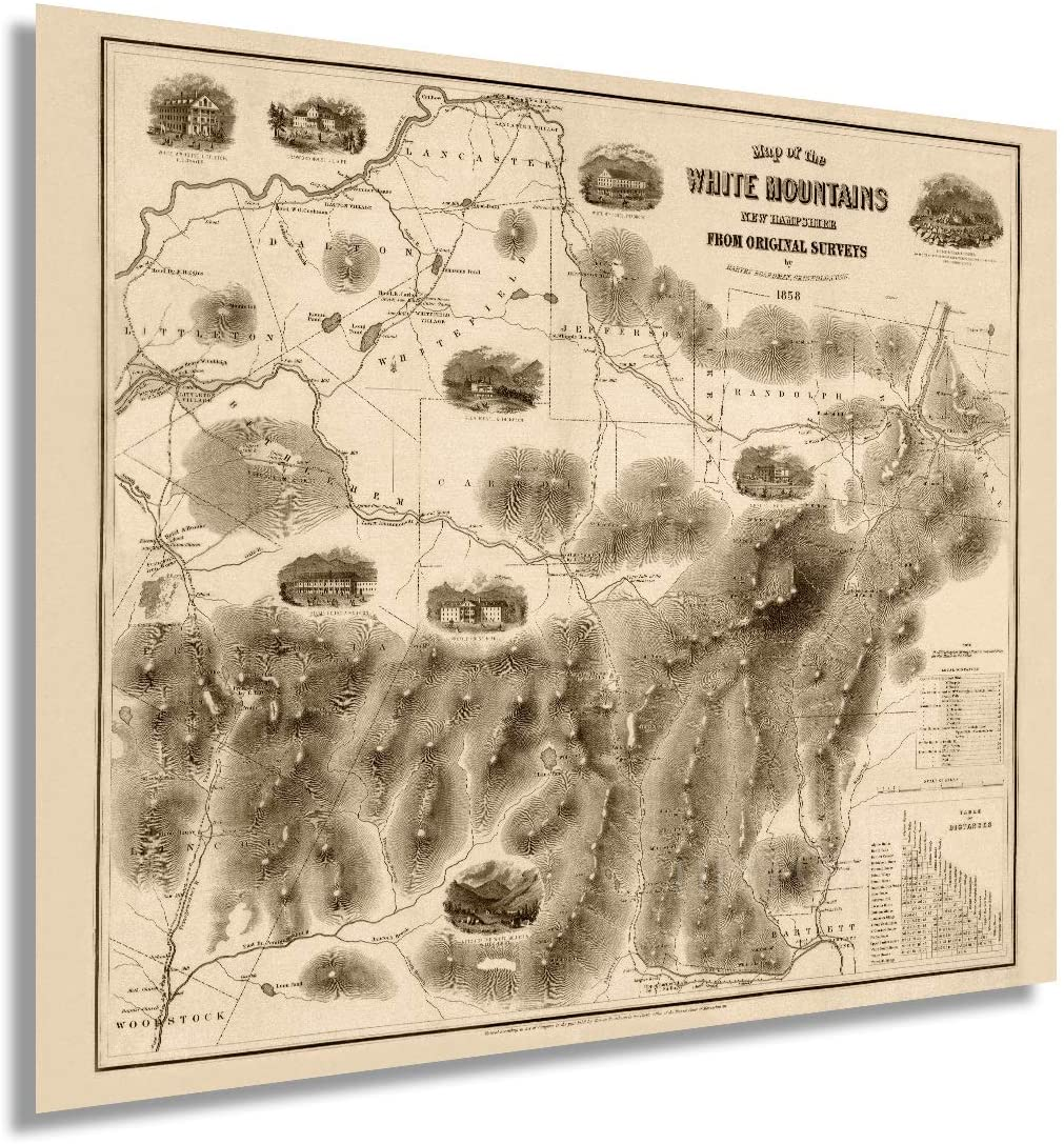1858 Map of the White Mountains, New Hampshire