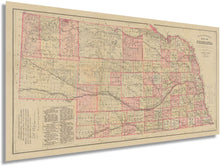 Load image into Gallery viewer, HISTORIX 1885 Map of Nebraska