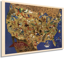 Load image into Gallery viewer, 1946 Map of William Gropper's America, its folklore. United States