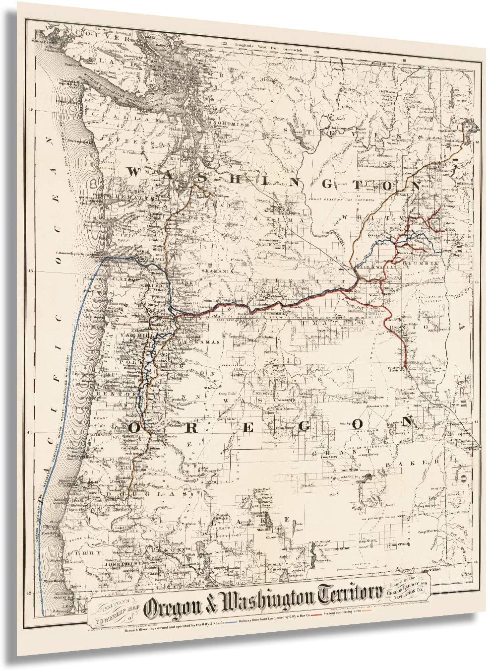 1880 Colton's township map of Oregon & Washington Territory