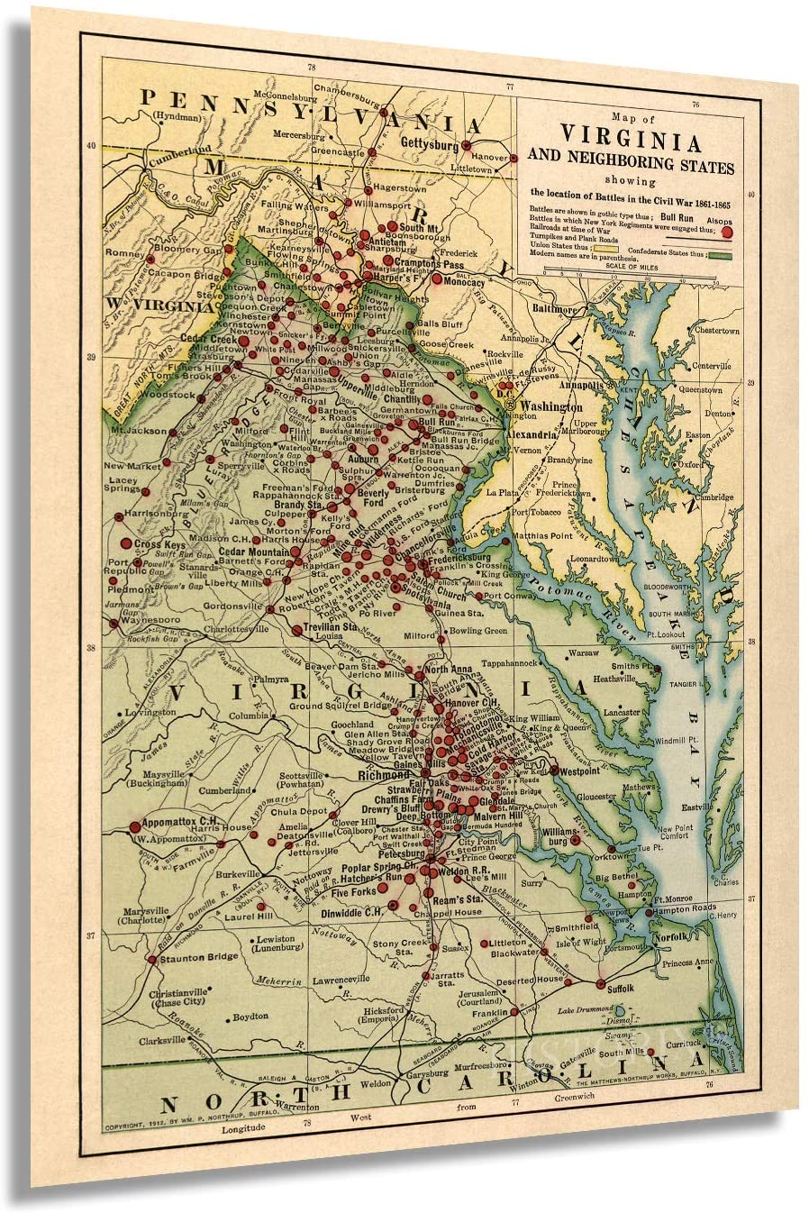 1912 Map of Virginia in the Civil War