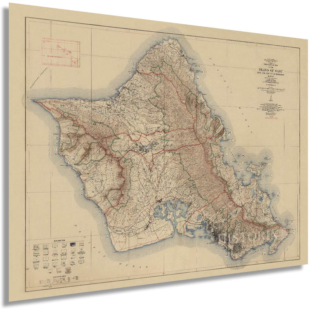 1938 Topographic map of the Island of Oahu Hawaii