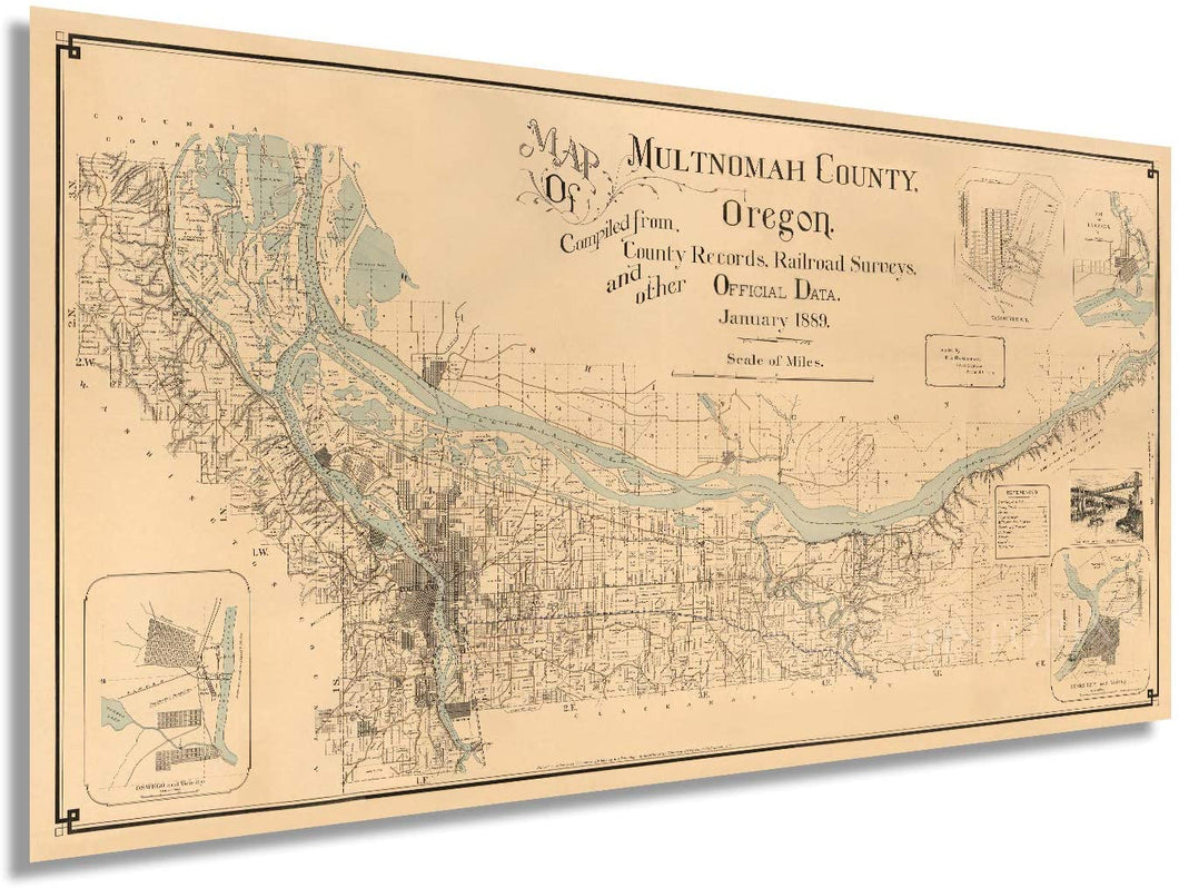 1889 Map of Multnomah County, Oregon