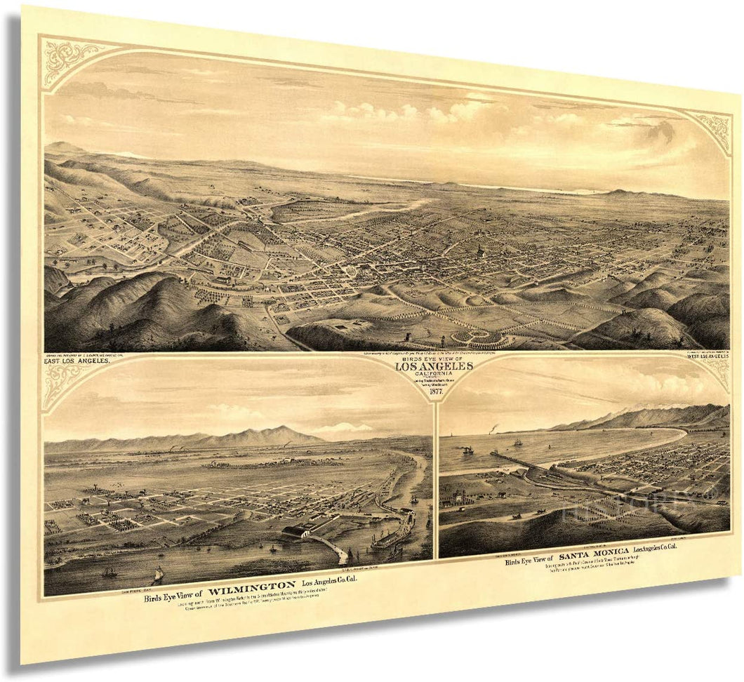1877 Birds eye view of Los Angeles, California