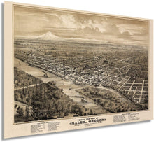 Load image into Gallery viewer, 1876 Bird's eye view of Salem, Oregon