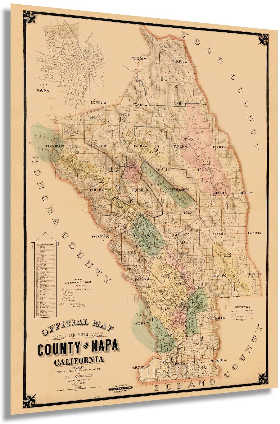 1895 Napa Map - Vintage Map of Napa California - Old Napa County CA Map - Historic Napa Wall Art - Napa Poster Map from Official Records and Latest Surveys