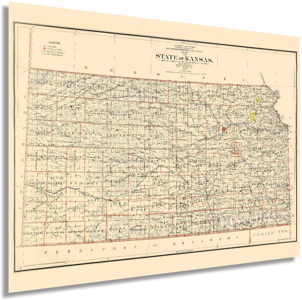 1898 Map of the state of Kansas