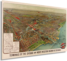 Load image into Gallery viewer, 1902 Chicago Map Railway Terminals