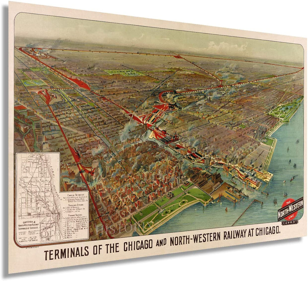 1902 Chicago Map Railway Terminals