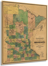 Load image into Gallery viewer, 1874 Township and railroad map of Minnesota
