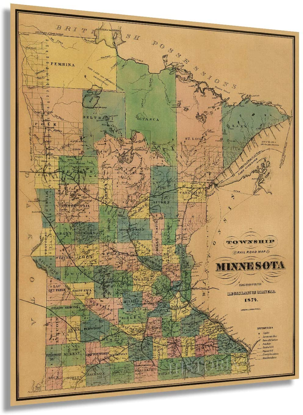 1874 Township and railroad map of Minnesota