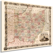 Load image into Gallery viewer, 1851 Colton's township map of the State of Ohio