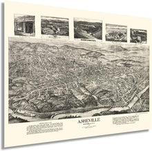 Load image into Gallery viewer, 1912 Asheville Map - Vintage Map of Asheville North Carolina Wall Art - Old Asheville NC Poster - Historic Asheville NC Map - Bird's Eye View Map of Asheville NC
