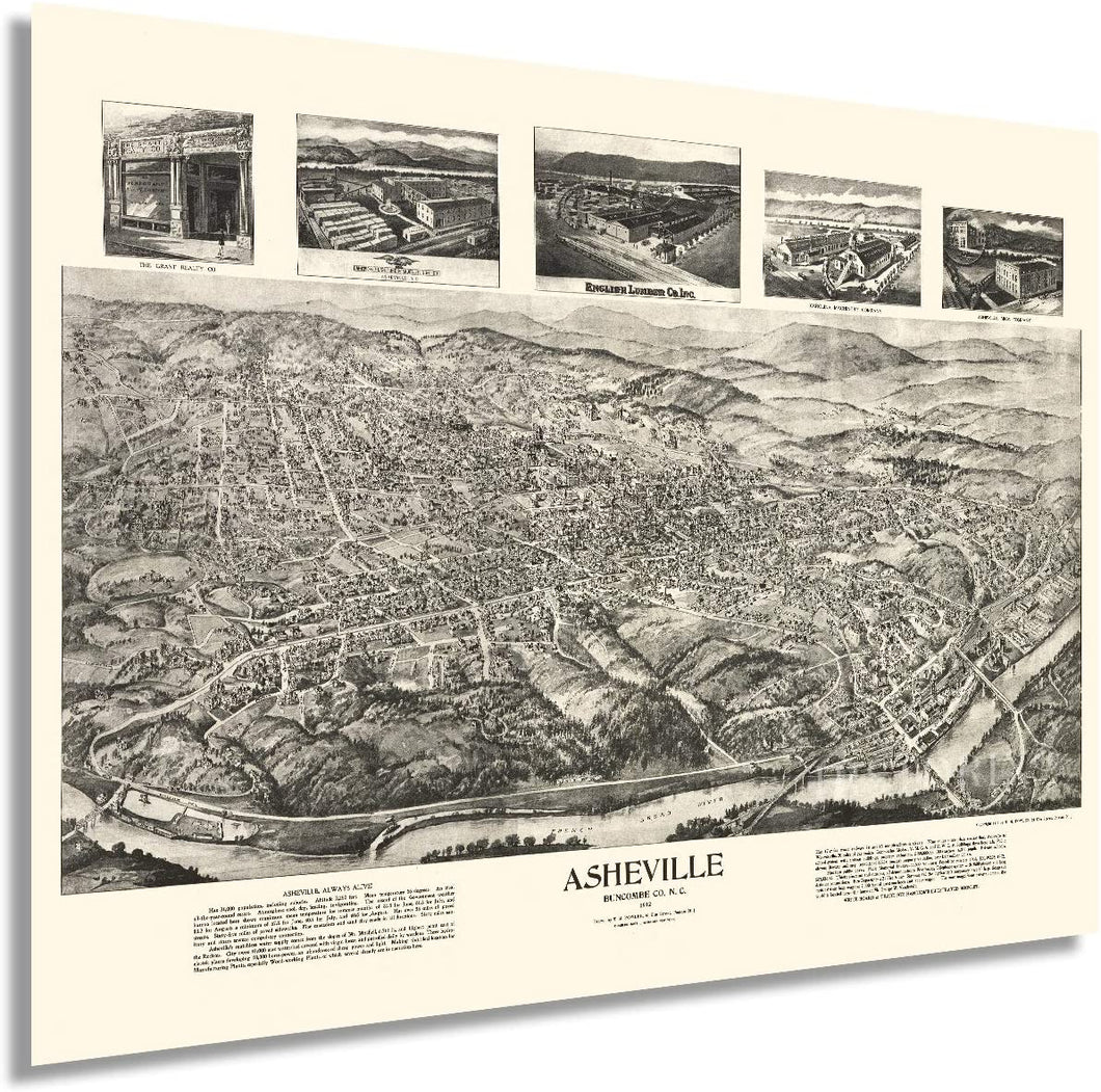 1912 Asheville Map - Vintage Map of Asheville North Carolina Wall Art - Old Asheville NC Poster - Historic Asheville NC Map - Bird's Eye View Map of Asheville NC