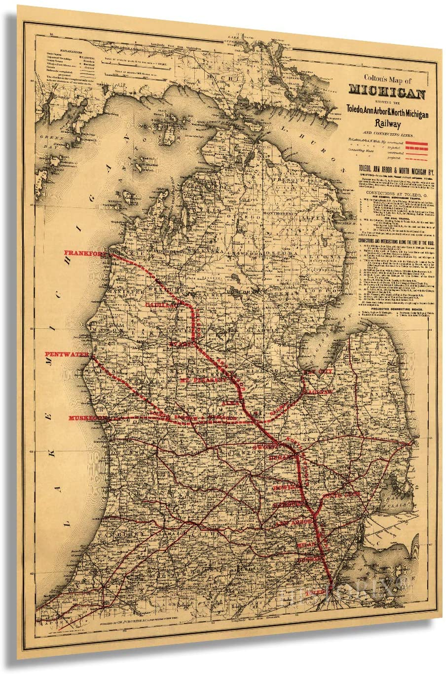 Historix 1886 Map of Michigan